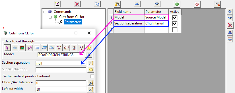 Screenshot showing an example of  using parameters to populate a panel in a chain
